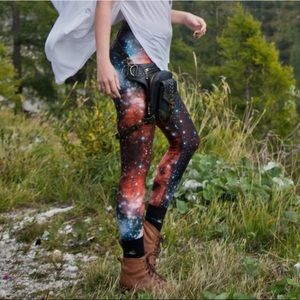 Blackmilk Red Galaxy Leggings Size S
